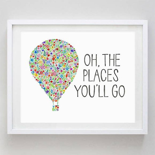 "8"" x 10"" Oh the Places You'll Go Floral Watercolor Print"
