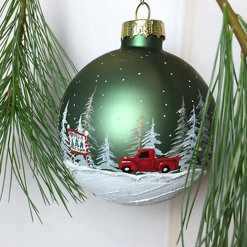 Hand-Painted Red Truck Ornament