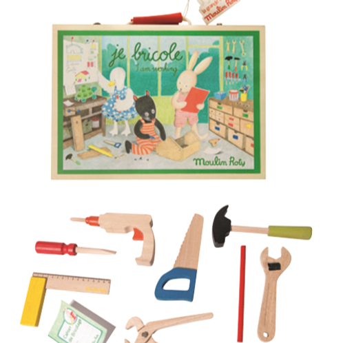 """""""I am Working"""" Wooden Tool Valise"""