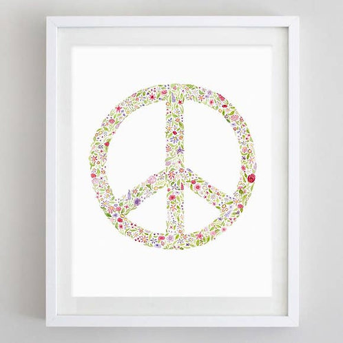 "8"" x 10"" Peace Sign Floral Watercolor Print"