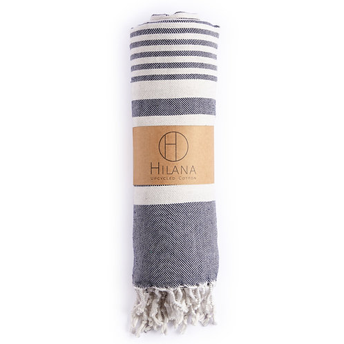 Fethiye Navy Blue Towel - Upcycled Cotton