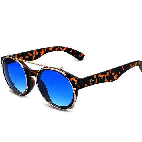 Tortoiseshell Round Sunglasses w Blue Lenses (UVA/UVB protection)