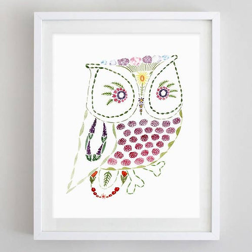 "8"" x 10"" Owl Floral Watercolor Print"