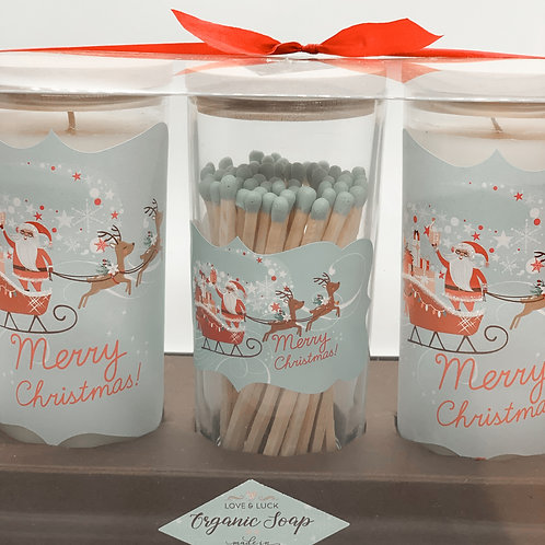 Merry Christmas Santa's Sleigh Organic Candle Holiday Set from Love + Luck