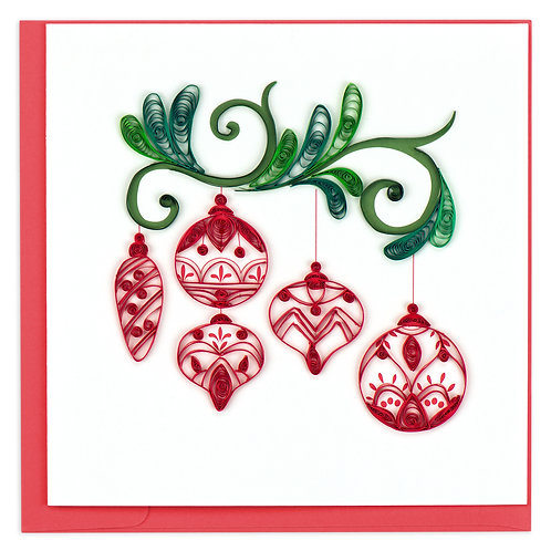 Quilling Card - Red Ornaments