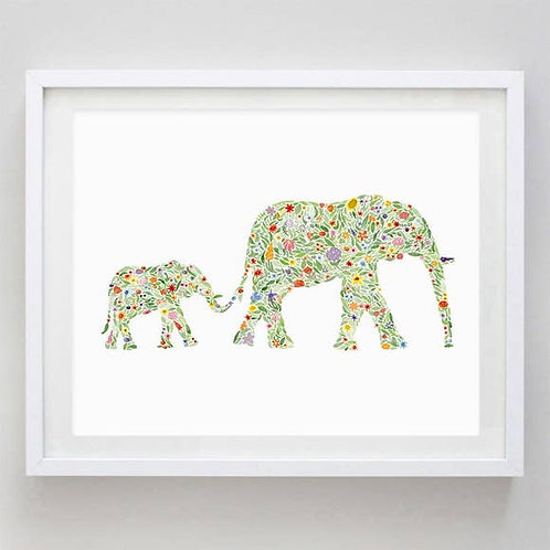 """8"""" x 10"""" Mama and Baby Elephants Floral Watercolor Print"""