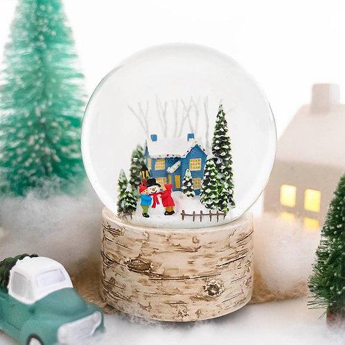 Blue House Christmas Snowglobe - 120mm