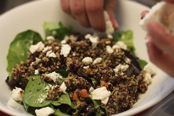 Fresh Spinach/Quinoa/Tomato Basil Vinaigrette/Charred Peppers/Pickled Beet/Avocado Crema/Goat Cheese/Puffed Amaranth