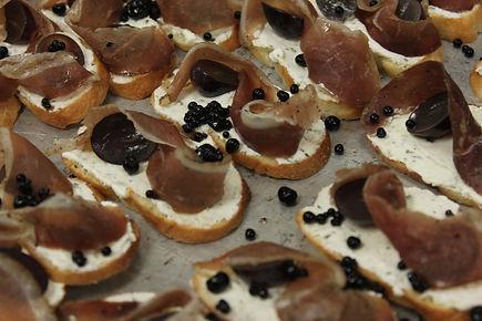 Sourdough Crostini/House Made Rosemary Labneh/Roasted Grape/Prosciutto/Balsamic Caviart