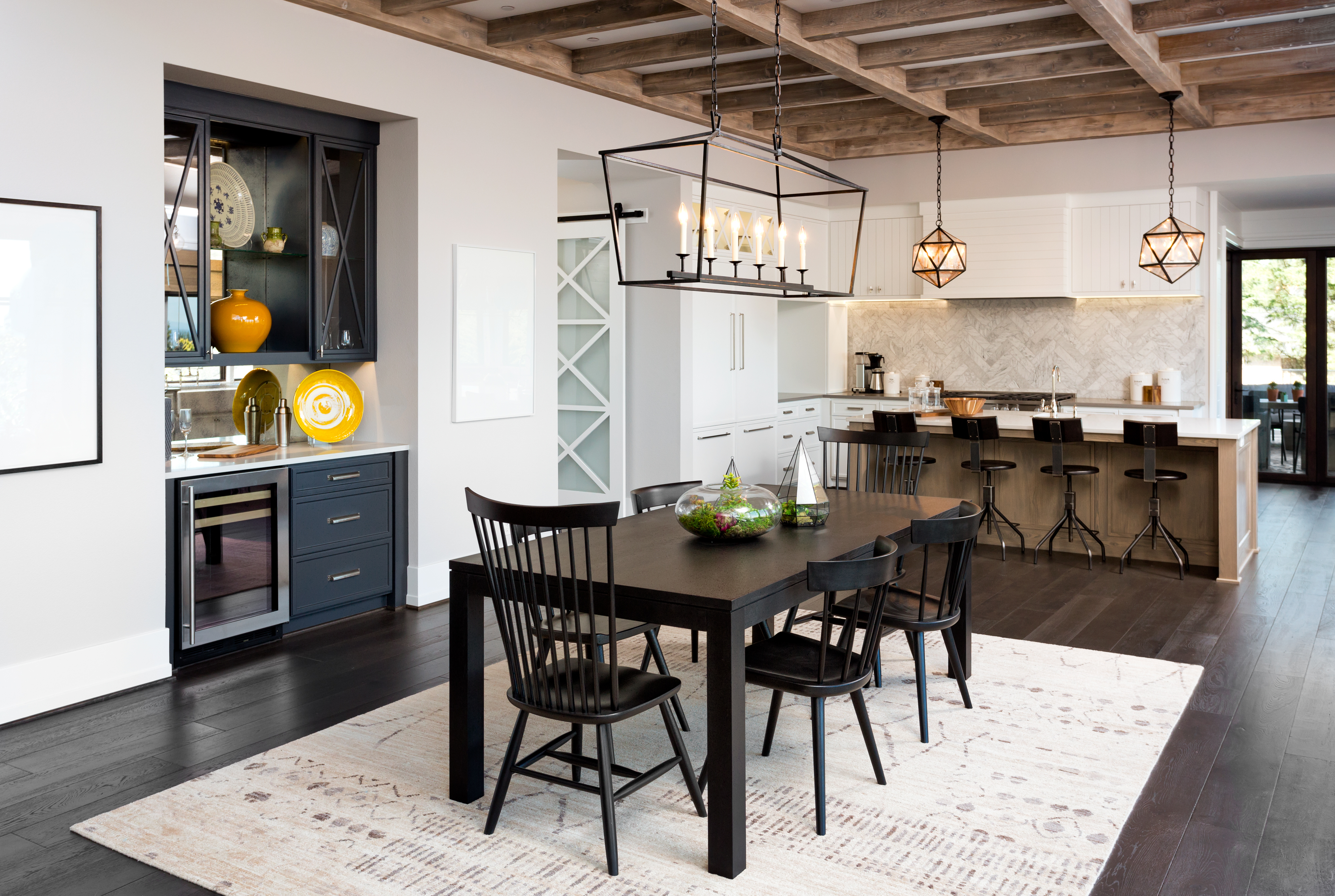 Dining Room and Kitchen In New Farmhouse