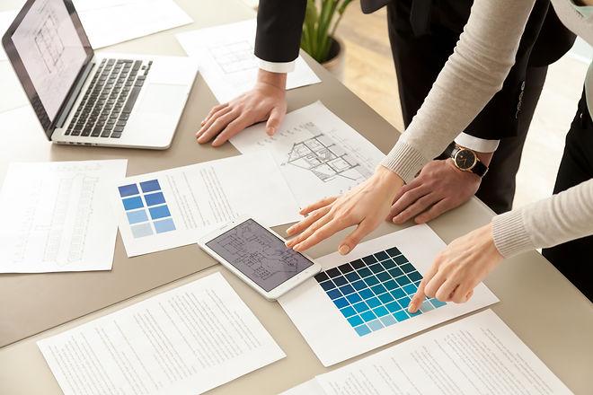 Close up view of Interior designers team