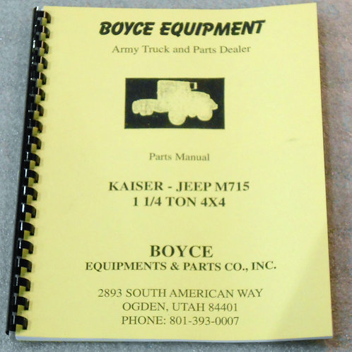 Boyce Parts Manual - Kaiser Jeep M715 4X4