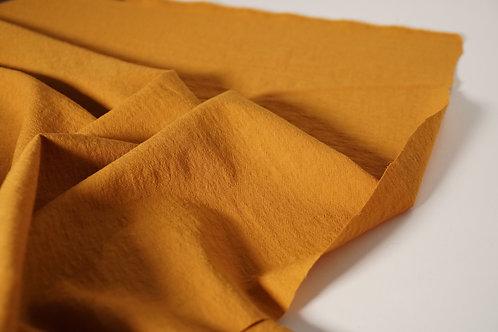 Tissu mélange viscose et laine texturé - ocre