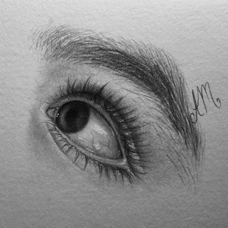 """Baby Eyes 2, Graphite on paper (3"""" x 3"""") 2/14/2020"""