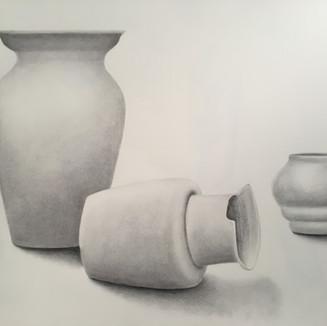 "Three Vases, Willow stick on Bristol Paper, (18"" x 24""),  12/4/2019"