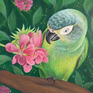 "Pretty bird, Acrylic on canvas (11"" x 14""), 8/9/2020"