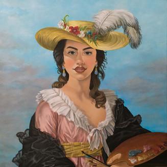 """Self portrait as Élisabeth Vigée Le Brun, Acrylic on canvas (18"""" x 24"""")   5/2 - 5/28  2020"""
