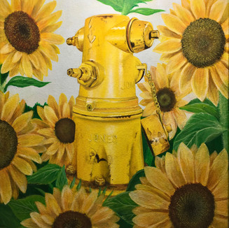 """Fire hydrant and flowers, Acrylic on canvas (11"""" x 14""""),  4/3/2020"""