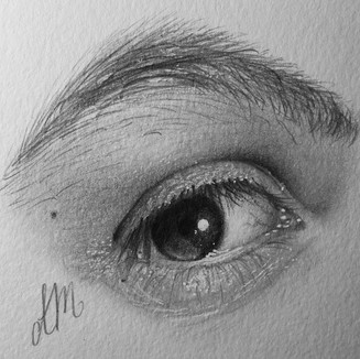 """Baby Sister, Graphite on paper (3"""" x 3"""") 3/16/2020"""