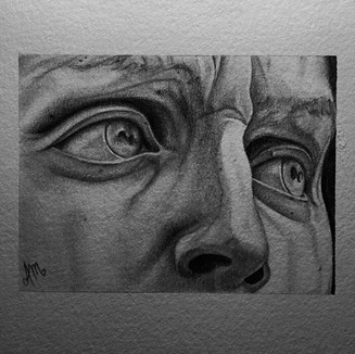 """The Eyes of David, Graphite on paper (4"""" x 6""""), 3/18/2020"""