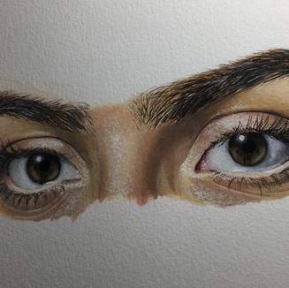 "Artist Eyes, Acrylic on paper, (5"" x 7""), 3/25/2020"