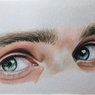 "Ocean Blue Eyes, Acrylic on paper, (5"" x 7""), 3/15/2020"