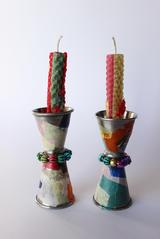 Shabbat Candles + Candlesticks