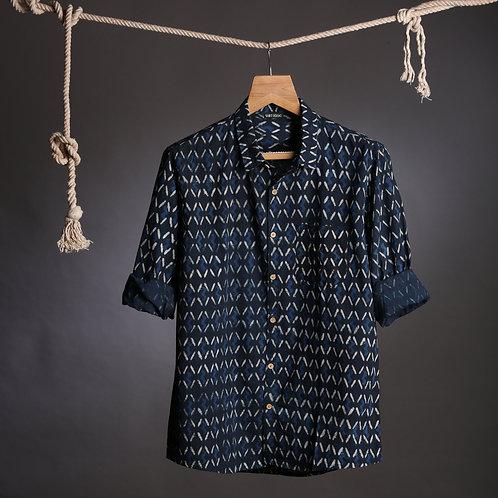 Geometric Indigo Handblock Shirt