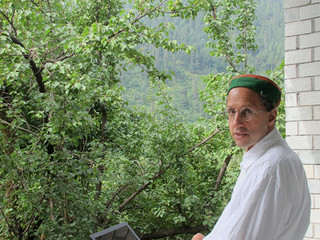 Sitting on the porch of our house in Old Manali