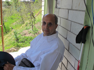 On the porch of our house, Old Manali