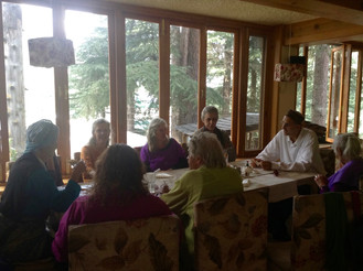 At the Bella Vista in Old Manali with western friends