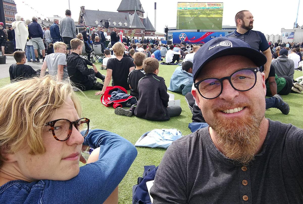 VM-fodbold på storskærm