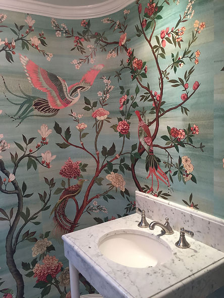 Powder Room Curved Wall Anthropologie Wallpaper