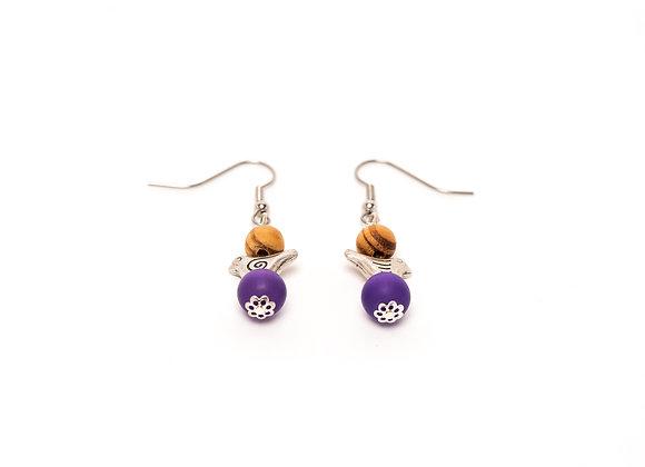 Ohrringe mit Perlen aus Olivenholz, Vogelperlen und Perlen