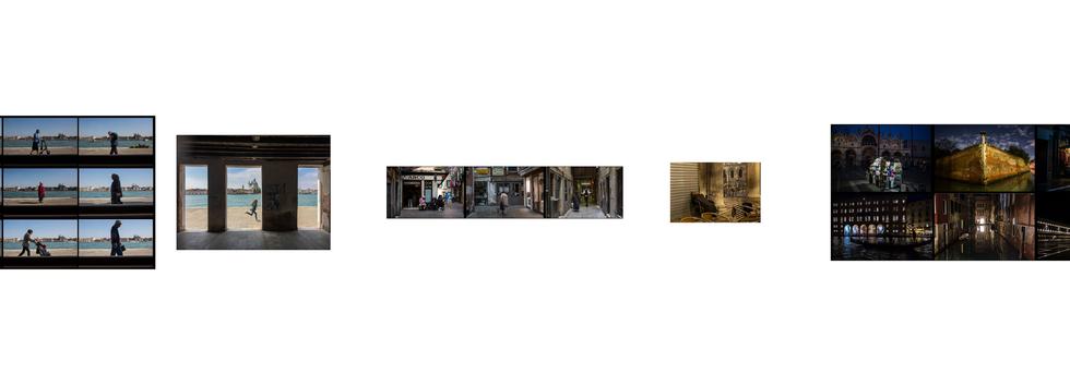 grande parede com 5 conjuntos de fotos