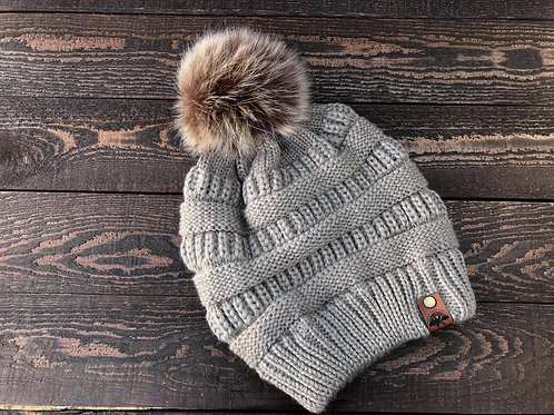 Light Brown Detachable Pom Beanie w/ Tag