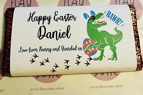 Dinosaur personalised chocolate bar