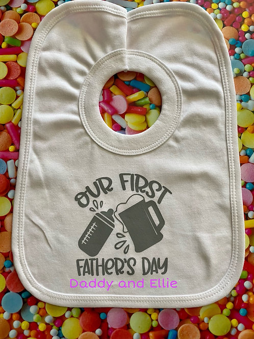 Our First Fathers Day Baby bib