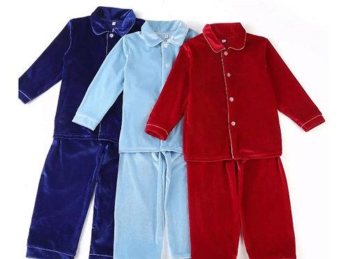 Boys red velvet Christmas pyjamas