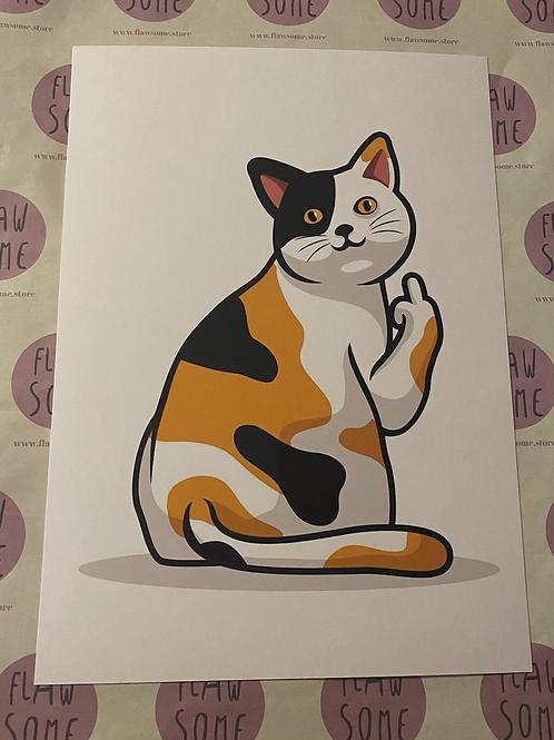 Cat , middle finger A4 print