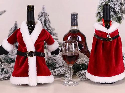 Mr and Mrs red velvet bottle covers