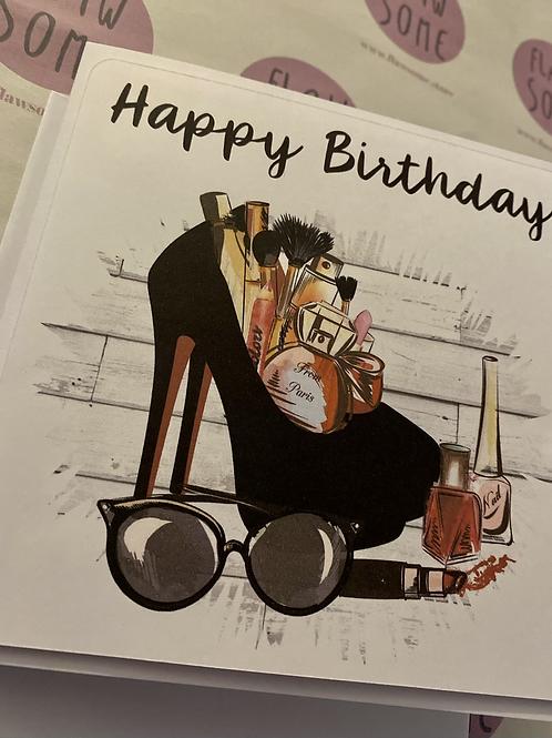 Make up/shoe Birthday card