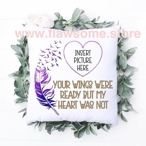 Wings ready personalised photo cushion cover
