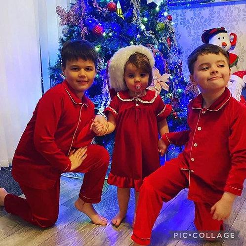 Children's Red velvet night dress or Red velvet lace trim pyjamas