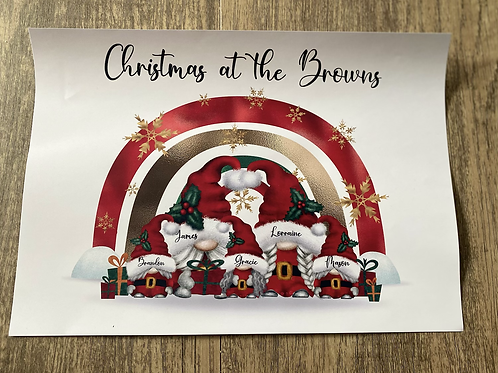 A4 Christmas  Gonk Family print