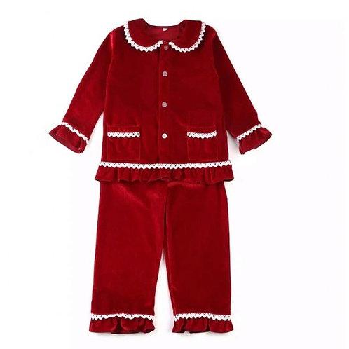Women's red velvet Christmas pyjamas