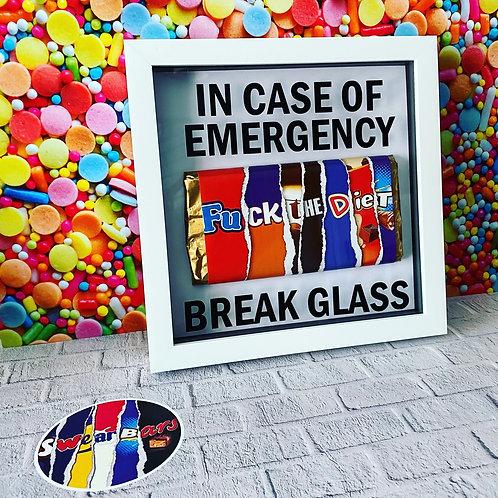 In case of emergency break glass frame
