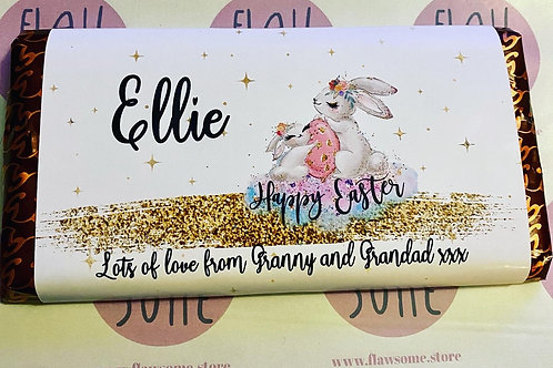 Bunny Easter chocolate bar, Personalised