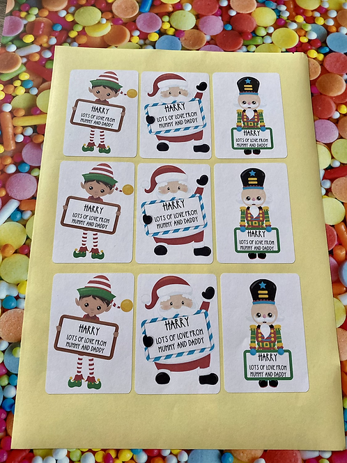 X9 set of personalised gift stickers