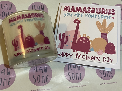 Mamasaurus Mother's Day card and candle set